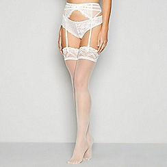 J by Jasper Conran - Ivory sheer lace top 15 denier stockings