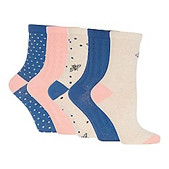 The Collection - Pack of 5 Bee Print Ankle Socks