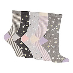 The Collection - Pack of 5 Daisy Print Ankle Socks
