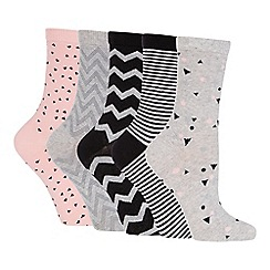 The Collection - Pack of 5 Geometric Print Ankle Socks