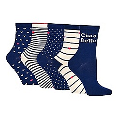 The Collection - 5 Pack Printed 'Ciao Bella' Ankle Socks
