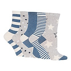 The Collection - Pack of 5 Star and Stripe Print Cotton Rich Ankle Socks