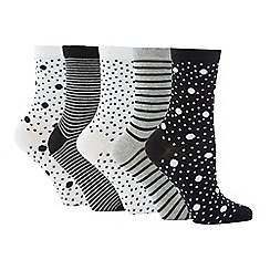 The Collection - 5 Pack Spot Stripe Ankle Socks