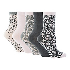 The Collection - 5 Pack Animal Print Ankle Socks