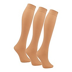 Debenhams - Pack of 3 natural knee high socks