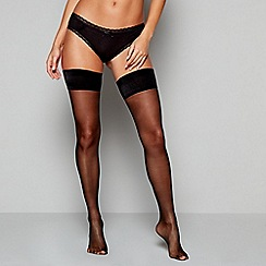 J by Jasper Conran - Black 10 denier sheer smooth top hold-ups