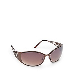 Beach Collection - Brown metal spiral wrap D-frame sunglasses