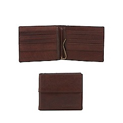RJR.John Rocha - Brown leather billfold wallet with cash clip