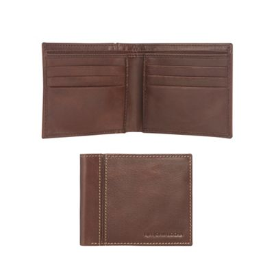 rjrjohn-rocha---brown-leather-debossed-logo-wallet by rjrjohn-rocha