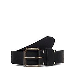 Red Herring - Black leather skinny roller belt
