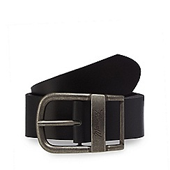 Mantaray - Black leather oval shaped buckle