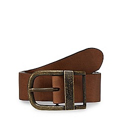 Mantaray - Big and tall brown leather oval buckle belt