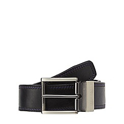 Jeff Banks - Big and tall designer black reversible triple stitched leather belt