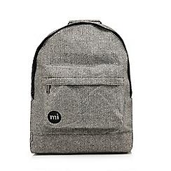 Mi-Pac - Light grey herringbone zipped backpack