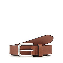 Red Herring - Big and tall tan leather skinny belt