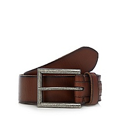 RJR.John Rocha - Big and tall designer tan leather debossed logo belt