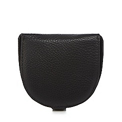 The Collection - Black leather coin data protection lined pouch