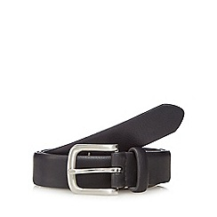 The Collection - Big and tall black leather curved buckle belt