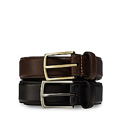 The Collection - Big and tall pack of two black and brown leather belts