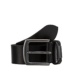 Mantaray - Black leather branded keeper belt