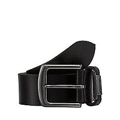 Mantaray - Black leather branded keeper belt