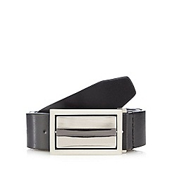 The Collection - Big and tall black leather flip buckle belt