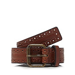 Red Herring - Tan leather skinny belt