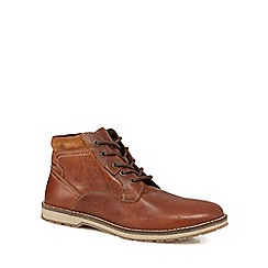 Mantaray - Brown leather 'Camo 2' lace-up boots
