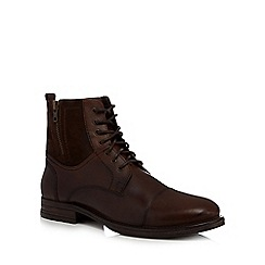 Mantaray - Dark brown leather 'Bruges' lace up boots
