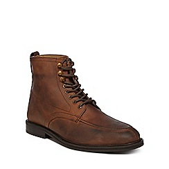 Red Herring - Brown leather 'Alloy Apron' lace up boots