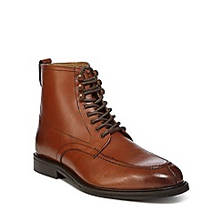 Red Herring - Tan leather 'Alloy Apron' lace up boots