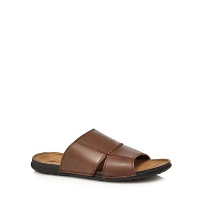 Mantaray - Tan leather 'Atlantic' mule sandals