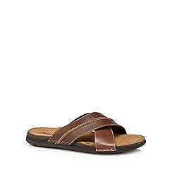Mantaray - Brown leather 'Adriatic' mule sandals