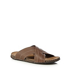 Mantaray - Tan leather slip-on sandals