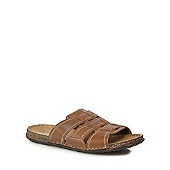 Mantaray - Tan leather 'Lagos 3' slip-on sandals