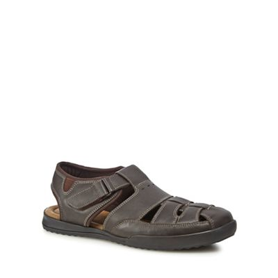 Mantaray   Dark Grey Leather 'albufeira' Sandals by Mantaray