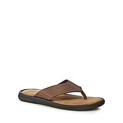 Mantaray - Dark brown leather 'Crete' flip flops