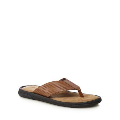 Mantaray - Tan leather 'Crete' flip flops