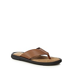 Mantaray - Tan leather 'Crete' flip flops