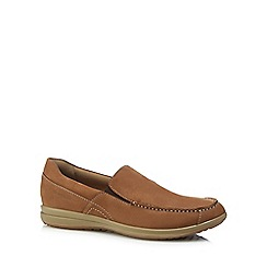 Hush Puppies - Tan leather 'Runner' slip on trainers