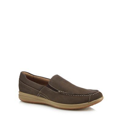 Hush Puppies - Brown leather 'Runner' slip on trainers