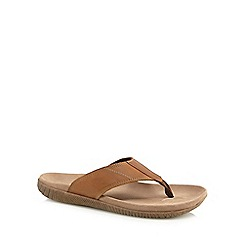 Hush Puppies - Brown leather 'Mutt' flip flops