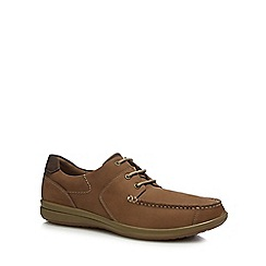 Hush Puppies - Taupe leather 'Runner' moccasins
