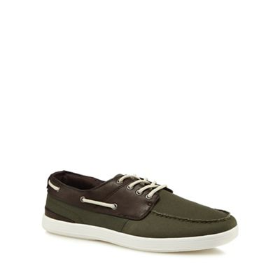 Red Herring - Khaki canvas 'Hayes' boat shoes