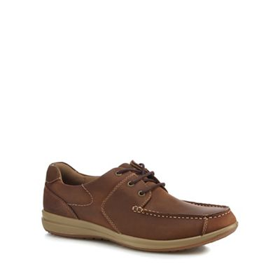 Hush Puppies - Brown leather 'Runner' Derby shoes