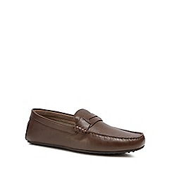 Hush Puppies - Brown leather 'Vastus Penny Driver' loafers