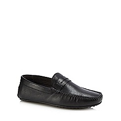 Hush Puppies - Black leather 'Vastus Penny Driver' loafers