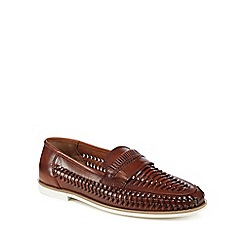 Red Herring - Dark tan leather 'Pizzorno' loafers