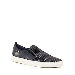 J by Jasper Conran - Navy leather 'Sicily' slip on trainers
