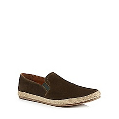 Red Herring - Khaki suede 'Provence' slip on espadrilles